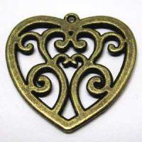 Anhänger Ornament-Herz Bronze