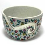 Handpainted Yarn Bowl with Flower Vines